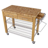 Chef Kitchen Work Station with End Grain Wire Shelves in Natural, 38-1/8''W x 20''D x 34-1/2''H