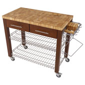 Chef Kitchen Work Station with End Grain Wire Shelves in Espresso, 38-1/8''W x 20''D x 34-1/2''H