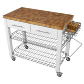 Chef Kitchen Work Station with End Grain Wire Shelves in White, 38-1/8''W x 20''D x 34-1/2''H