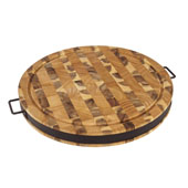 Round Cutting Board With Black Metal Band & Handles, Reversible, 17-1/2' Diameter x 2'H
