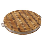 Round Cutting Board With Stainless Metal Band & Handles, Reversible, 17-1/2' Diameter x 2'H