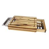 Cutting Board With Chef Pan And Knife Drawer, 19-3/4''W x 14-1/2''D x 3-1/4''H