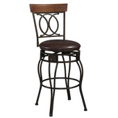 24'' O & X Back Bar Stool, 21''W x 16-3/4''D x 38''H,  Matte Bronze