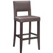 30'' Vega Bar Stool, Brown Seat, 19'' W x 19'' D x 44'' H, Espresso Finish