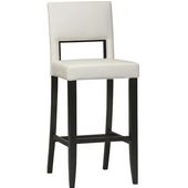 30'' Vega Bar Stool, White Seat, 19'' W x 19'' D x 44'' H, Espresso Finish