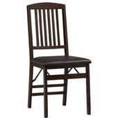 - Triena Mission Back Folding Chair, Espresso, Set of 2