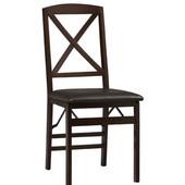 - Triena X Back Folding Chair, Espresso, Set of 2