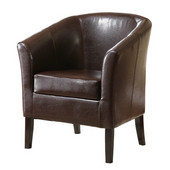 Simon Club Chair in Black Hardwood Frame Finish and Brown PU Fabric, 28-1/4'' W x 25-1/2'' D x 33'' H