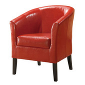 Simon Club Chair in Black Hardwood Frame Finish and Red PU Fabric, 28-1/4'' W x 25-1/2'' D x 33'' H