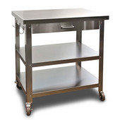 Stainless Steel Kitchen Cart w/ No Top, Angular Leg, Towel Bar & Utensil Hanger, 30'' W x 22'' D x 34'' H