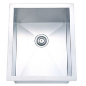 Undermount Square Single Bowl Kitchen Sink, 18 Gauge, Satin, 14''W x 17''D x 8''H