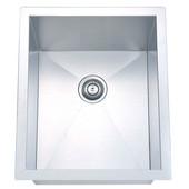 Undermount Square Single Bowl Kitchen Sink, 18 Gauge, Satin, 15''W x 18''D x 10''H