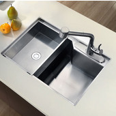 Undermount Square Single Bowl Kitchen Sink, 18 Gauge, Satin, 26-3/8''W x 18-7/8''D x 9-1/2''H