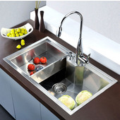 Undermount Square Single Bowl Kitchen Sink, 18 Gauge, Satin, 30-3/4''W x 18-7/8''D x 9-1/2''H