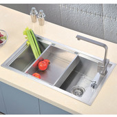 Undermount Square Single Bowl Kitchen Sink, 18 Gauge, Satin, 31-1/2''W x 18-7/8''D x 10''H