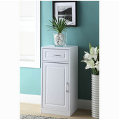 Bathroom 1 Door/1 Drawer Base Cabinet with Flat Framed Front, White