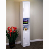 Bathroom Storage Tower, White Finish with Flat Framed Front