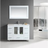 Stanton 48'' Single Sink Vanity Set with Wall Mirror and Drop-In Sink in White, 48'' W x 18'' D x 35'' H
