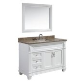 Hudson 48'' Single Sink Vanity Set with Wall Mirror in White and Crema Marfil Marble Top, 48'' W x 22'' D x 35'' H