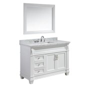 Hudson 48'' Single Sink Vanity Set with Wall Mirror in White and White Carrera Marble Countertop, 48'' W x 22'' D x 35'' H