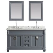 Hudson 61'' Double Sink Vanity Set in Gray with Carrara Marble Top and (2) Matching Wall Mirrors, 61'' W x 22'' D x 35'' H