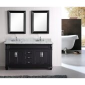 Hudson 61'' Double Sink Vanity Set with (2) Wall Mirrors in Espresso and White Carrera Marble Countertop, 61'' W x 22'' D x 35'' H