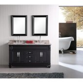 Hudson 61'' Double Sink Vanity Set with (2) Wall Mirrors in Espresso and Crema Marfil Marble Countertop, 61'' W x 22'' D x 35'' H
