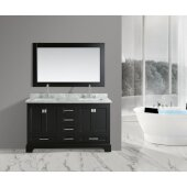 Omega 61'' Double Sink Vanity Set with Wall Mirror in Espresso and Carrera White Countertop, 61'' W x 22'' D x 36'' H