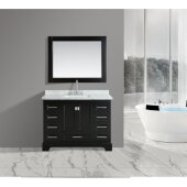Omega 48'' Single Sink Vanity Set with Wall Mirror in Espresso and Carrera White Countertop, 48'' W x 22'' D x 36'' H