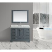 Omega 48'' Single Sink Vanity Set with Wall Mirror in Gray and Carrera White Countertop, 48'' W x 22'' D x 36'' H