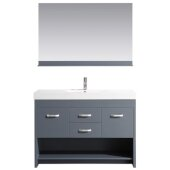 Citrus 48'' Single Sink Vanity Set in Gray with Matching Wall Mirror, 47'' W x 18'' D x 32'' H