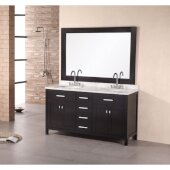 London 61'' Double Sink Vanity Set with Wall Mirror in Espresso and White Carrera Marble Countertop, 61'' W x 22'' D x 36'' H