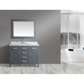 London 48'' Single Sink Vanity Set with Wall Mirror in Gray and White Carrera Marble Countertop, 48'' W x 22'' D x 36'' H