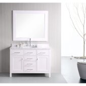 London 48'' Single Sink Vanity Set with Wall Mirror in White and White Carrera Marble Countertop, 48'' W x 22'' D x 36'' H