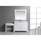 London 48'' Single Sink Vanity Set with Wall Mirror and Make-Up Table in White, White Carrera Marble Countertop, 78'' W x 22'' D x 36'' H