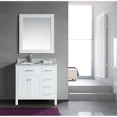 London 36'' Single Sink Vanity Set with Wall Mirror in White and Drawers on the Right, White Carrera Marble Countertop, 36'' W x 22'' D x 36'' H