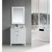 London 30'' Single Sink Vanity Set with Wall Mirror in White and White Carrera Marble Countertop, 30'' W x 22'' D x 36'' H