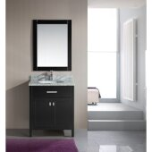 London 30'' Single Sink Vanity Set with Wall Mirror in Espresso and White Carrera Marble Countertop, 30'' W x 22'' D x 36'' H