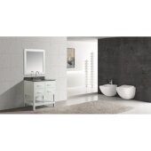 London 36'' Single Sink Vanity Set with Wall Mirror in White and Gray Quartz Top, 36'' W x 22'' D x 36'' H