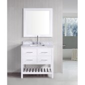 London 36'' Single Sink Vanity Set with Wall Mirror in White and White Carrera Marble Countertop, 36'' W x 22'' D x 36'' H