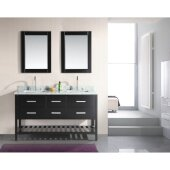 London 61'' Double Sink Vanity Set with (2) Wall Mirrors in Espresso, Open Bottom and White Carrera Marble Top, 61'' W x 22'' D x 36'' H