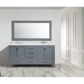 London 72'' Double Sink Vanity Set with Wall Mirror in Gray and White Carrera Marble Countertop, 72'' W x 22'' D x 36'' H
