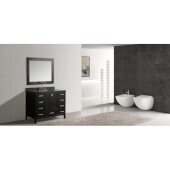 London 48'' Single Sink Vanity Set with Wall Mirror in Espresso and Gray Quartz Countertop, 48'' W x 22'' D x 36'' H