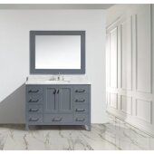 London 48'' Single Sink Vanity Set with Wall Mirror in Gray and Carrera White Marble Countertop, 48'' W x 22'' D x 36'' H
