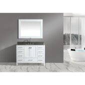 London 48'' Single Sink Vanity Set with Wall Mirror in White and Gray Quartz Countertop, 48'' W x 22'' D x 34'' H