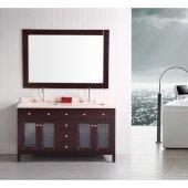 Venetian 61'' Double Sink Vanity Set in Espresso with Beige Natural Marble Countertop, 61'' W x 22'' D x 35-1/2'' H