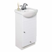 Vanity Set with White China Top Bathroom Sink and Petite Style Bath Vanity in a White finish