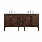 Addison 72'' W Double Vanity Set in Mid-Century Acacia Finish with Arctic Fall Solid Surface Top and Two (2) Sinks, 71.875'' W x 23-3/8'' D x 34-1/2'' H