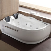 72'' Corner Acrylic Lighted Whirlpool Bathtub with Stereo, Bluetooth, and Fixtures in White and Right Configuration, 70-9/10'' W x 47-1/4'' D x 27-1/2'' H