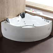 60'' Corner Acrylic Lighted Whirlpool Bathtub with Stereo, Bluetooth, and Fixtures in White, 59-1/2'' W x 59-1/2'' D x 27-1/5'' H
